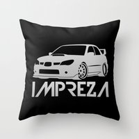 subaru Throw Pillows featuring Subaru Impreza 2006 - silver - by Vehicle