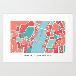 Prague Minimal Map Art Print
