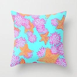 Starfish & Sea Urchin teal Throw Pillow