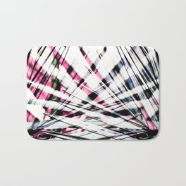 Abstract Tropical Black and Pink Jungle Leaves Bath Mat