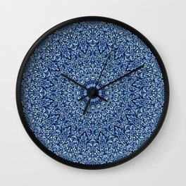 Sacred Blue Garden Mandala Wall Clock