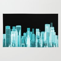 hologram Area & Throw Rugs featuring Hologram city panorama by GrandeDuc