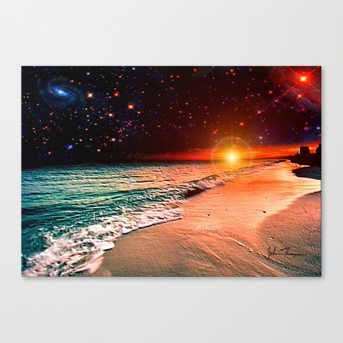 galaxy beach canvas print by jtdigitalart society6