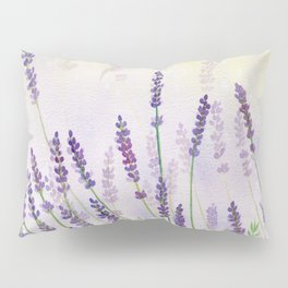 Lavender Flowers Watercolor Pillow Sham