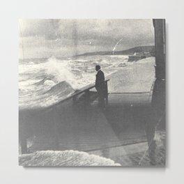1914 Man by Ocean Surf Metal Print