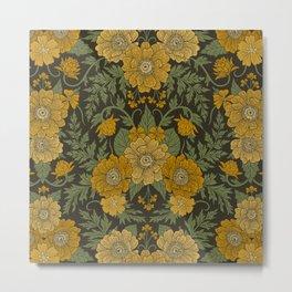 Dark Fall/Winter Floral in Yellow & Green Metal Print