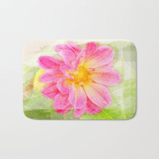 Pink Pastel Watercolor Flower Bath Mat