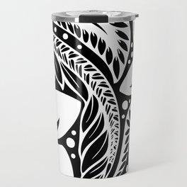 Circular Polynesian White Floral Tattoo Travel Mug