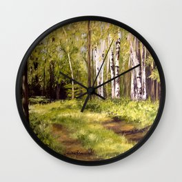Birch Trees Nature Landscape Oil Painting Wall Clock