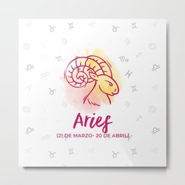Zodiac signs collection - Aries Delvallediseno Metal Print