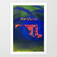 maryland Art Prints featuring Maryland Map by Roger Wedegis