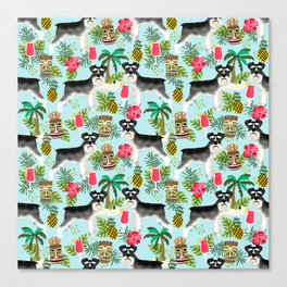 Schnauzer tiki pattern floral hibiscus floral flower pattern palm leaves Canvas Print