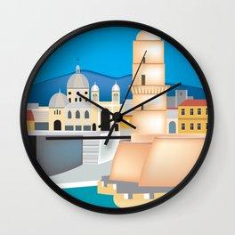 Marseille, France - Skyline Illustration by Loose Petals Wall Clock