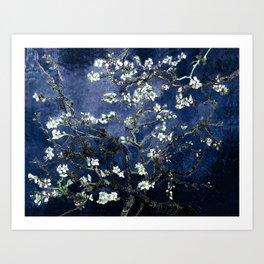 Vincent Van Gogh Almond Blossoms Dark Blue Art Print