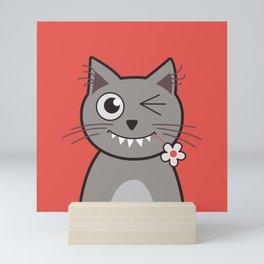 Winking Cartoon Kitty Cat Mini Art Print