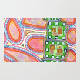 Green Band over Red Cells Rug