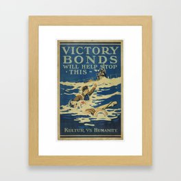 Poster, Victory Bonds, 1918, Canada, by Victory Loan Dominion Publicity Committee Framed Art Print