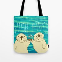 otters Tote Bags featuring High Five / Sea Otters by Alissa Thiele