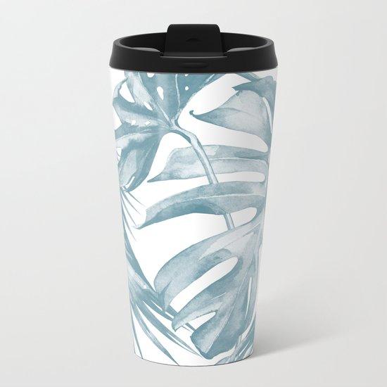 Island Dream Teal Blue Leaves Metal Travel Mug