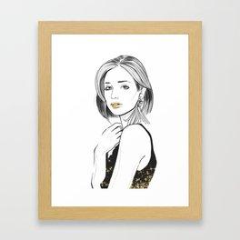 Hand-painted fashion woman portrait Framed Art Print