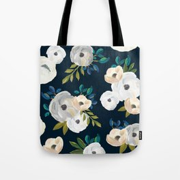 ce57479abf4f Midnight Florals - Blue   Cream Tote Bag