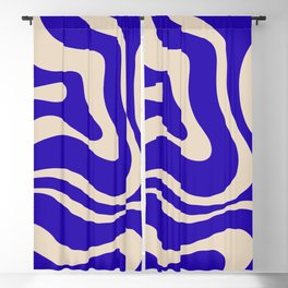 Modern Liquid Swirl Abstract Pattern Square in Cobalt Blue  Blackout Curtain