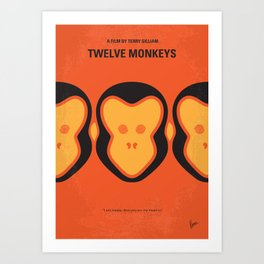 No355 My 12 MONKEYS minimal movie poster Art Print