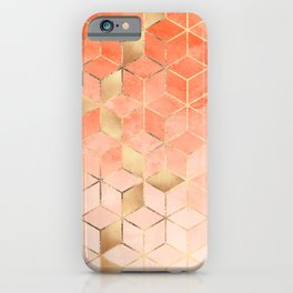 Soft Peach Gradient Cubes iPhone Case