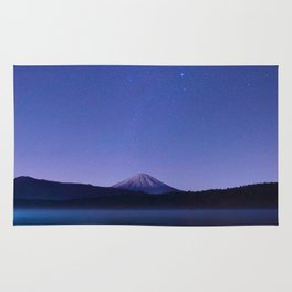 Purple Lilac Lullaby Japanese Mountains At Night Star Sky Relaxing Cozy Landscape Rug