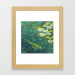 Serene koi lily pond Framed Art Print