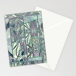 Sea Foam Green & Heather Collage Stationery Cards