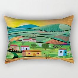 Sunset over Fields Rectangular Pillow