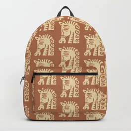 Mid Century Horse Pattern Brown Backpack