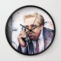 cage Wall Clocks featuring Nicolas Cage by Olechka
