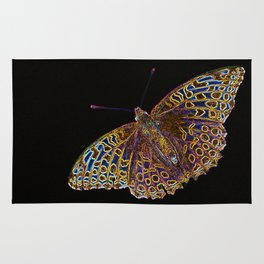 Butterfly on a black background #decor #society6 Rug
