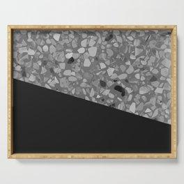 Terrazzo Texture Grey Black #7 Serving Tray