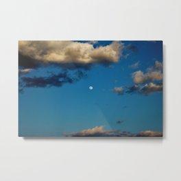 Moon Between The Clouds Metal Print