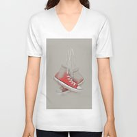 sneakers V-neck T-shirts featuring red sneakers by ivaDima