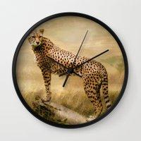 cheetah Wall Clocks featuring Cheetah by tarrby/Brian Tarr