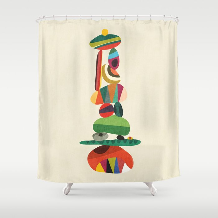 Totem - balanced pebbles Shower Curtain