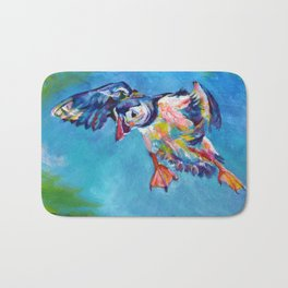 Flying puffin Bath Mat