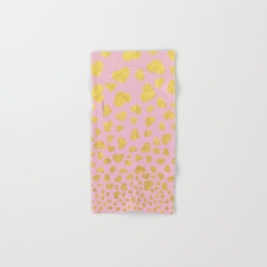 Golden hearts falling from heaven- Gold glitter heart on pink Hand & Bath Towel