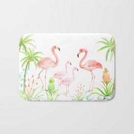 Watercolor flamingo family art print Bath Mat