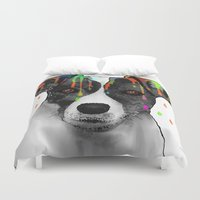 jack russell Duvet Covers featuring Jack Russell Dog BW by Marlene Watson