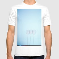 Triple Exposed Palm Trees Mens Fitted Tee White MEDIUM