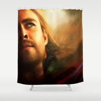 thor Shower Curtains featuring Thor by Kate Dunn