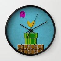 pacman Wall Clocks featuring super pacman by gazonula