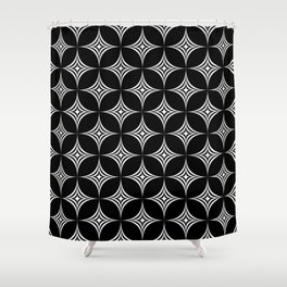 Large White Star Geometric Background Repeating Pattern Shower Curtain