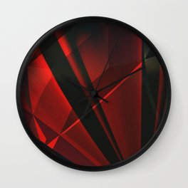 Red Abstractum Wall Clock