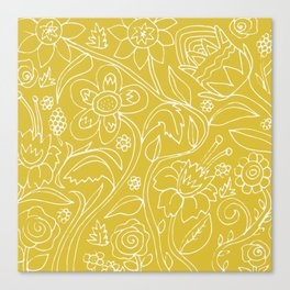 Garden Floral Drawing on Yellow Canvas Print